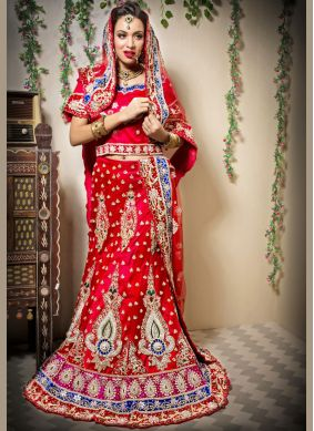 Grandiose Embroidered Net Red Designer Lehenga Choli