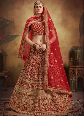 Grandiose Embroidered Red Designer Lehenga Choli