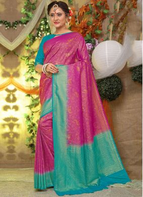 Grandiose Fancy Fabric Weaving Hot Pink Traditional Designer Saree