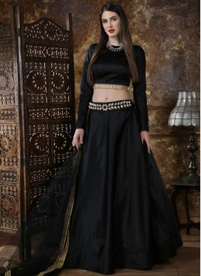 Grandiose Fancy Satin Black Lehenga Choli