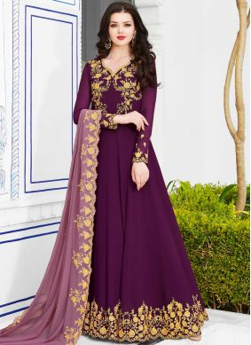 Grandiose Georgette Purple Anarkali Salwar Suit
