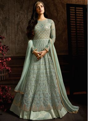 Grandiose Turquoise Embroidered Desinger Anarkali Suit