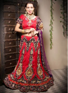 Gratifying Border Red Art Silk Designer Lehenga Choli