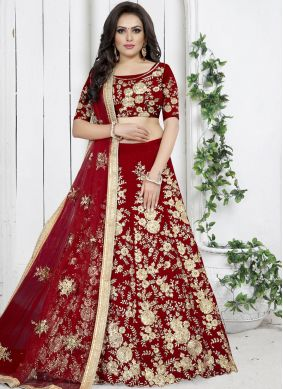 Gratifying Embroidered Red Velvet Trendy Designer Lehenga Choli