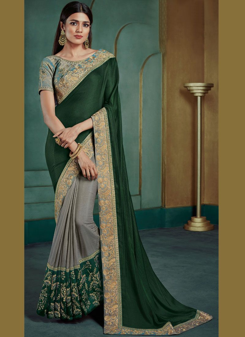 Green and Grey Classic Saree
