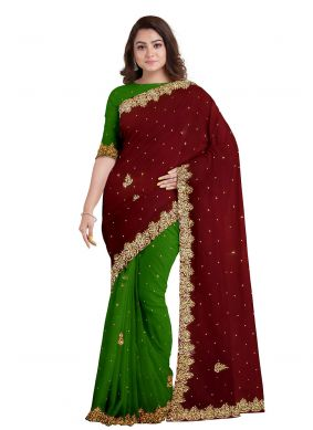 Green and Maroon Fancy Engagement Designer Saree