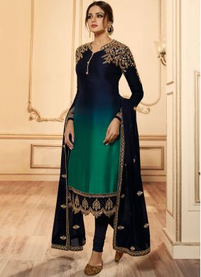 Green and Navy Blue Ceremonial Georgette Satin Churidar Designer Suit