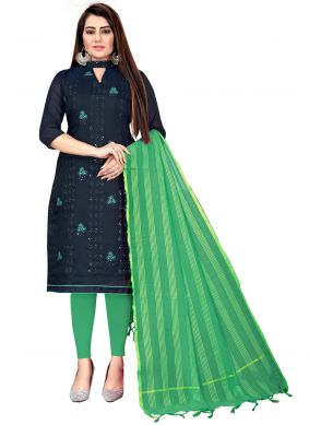 Green and Navy Blue Color Churidar Suit