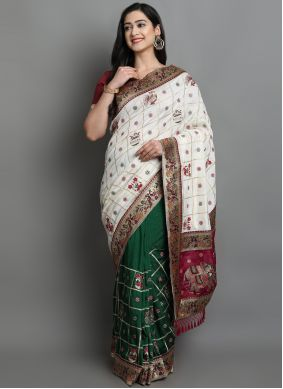 Green and Off White Patola Print Silk Designer Traditional Saree