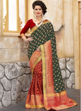 Green and Red Art Silk Weaving Half N Half  Saree