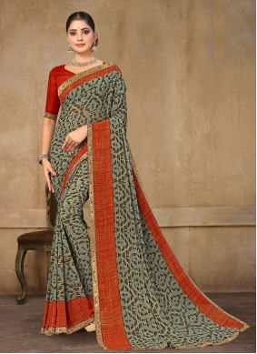 Green and Red Casual Faux Georgette Printed Saree