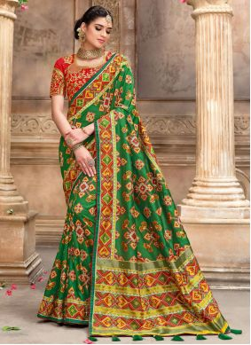 Green and Red Color Designer Traditional Saree