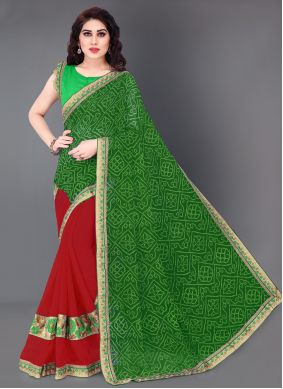 Green and Red Festival Faux Georgette Half N Half Designer Saree