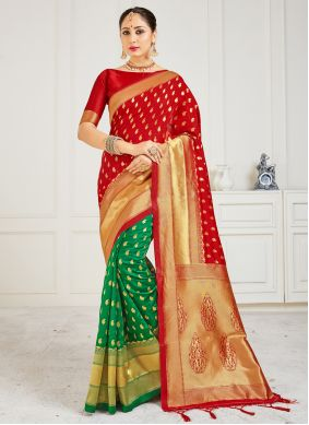 Green and Red Festival Half N Half Designer Saree