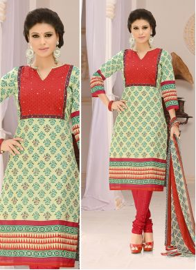 Green and Red Print Casual Churidar Suit