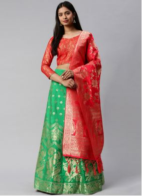 Green and Rose Pink Weaving Lehenga Choli