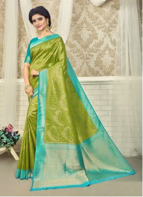 Green and Turquoise Engagement Silk Saree