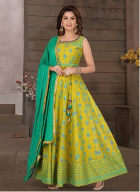 Green and Yellow Chanderi Engagement Readymade Suit