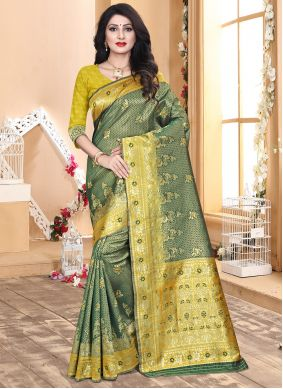Green and Yellow Color Silk Traditional Saree