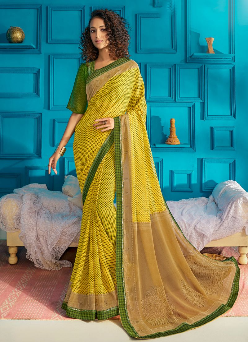 Green and Yellow Print Georgette Classic Saree