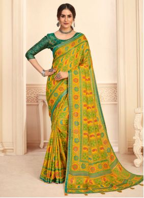 Green and Yellow Silk Fancy Traditional Saree