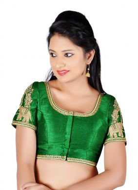 Green Art Dupion Silk Embroidered Designer Blouse