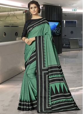Green Art Silk Casual Traditional Saree