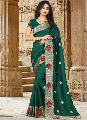 Green Art Silk Patch Border Traditional Designer Saree