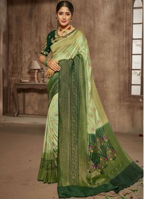 Green Bridal Jacquard Silk Designer Traditional Saree