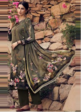 Green Casual Faux Crepe Palazzo Suit