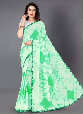 Green Casual Faux Georgette Trendy Saree