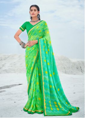 Green Georgette Casual Shaded Saree