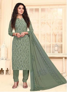 Green Casual Straight Suit