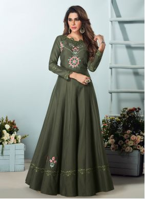 Green Ceremonial Floor Length Kurti