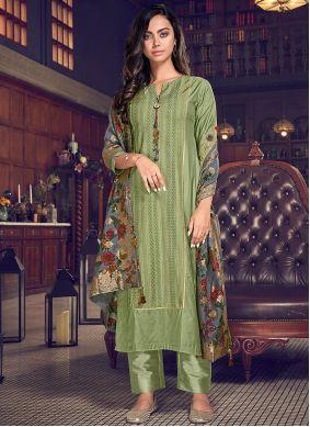 Green Chanderi Silk Pant Style Suit