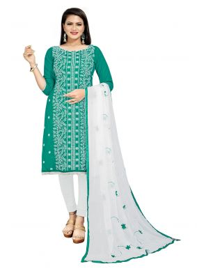 Green Cotton Embroidered Churidar Suit