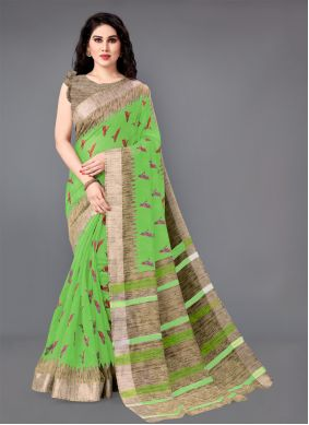 Green Color Casual Saree
