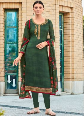 Green Color Churidar Designer Suit