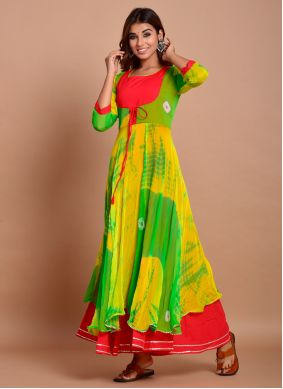 Green Color Readymade Trendy Gown