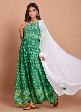Green Cotton Block Print Readymade Designer Gown