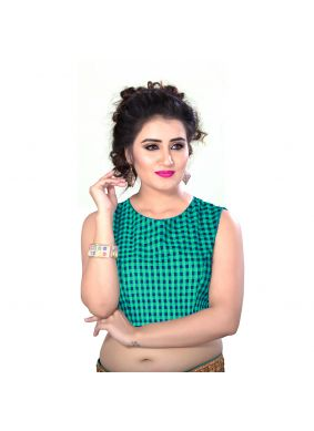 Green Cotton Designer Blouse