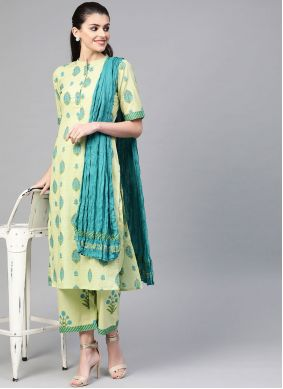 Green Cotton Festival Readymade Suit