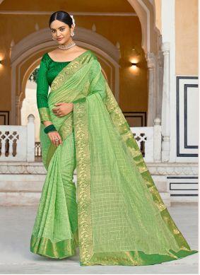 Green Cotton Mehndi Casual Saree