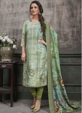 Green Digital Print Festival Designer Straight Suit
