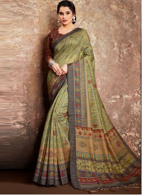 Green Digital Print Handloom silk Classic Saree