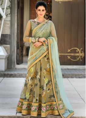 Green Digital Print Lehenga Choli