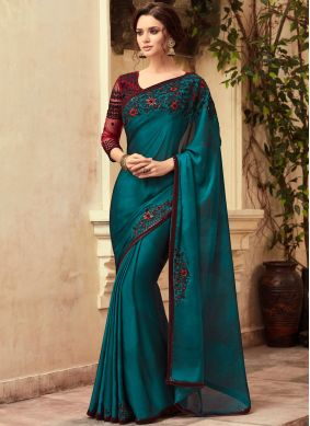 Green Embroidered Art Silk Designer Traditional Saree