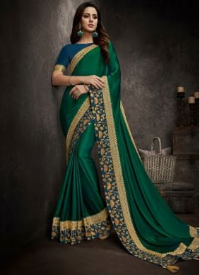 Green Embroidered Art Silk Traditional Designer Saree