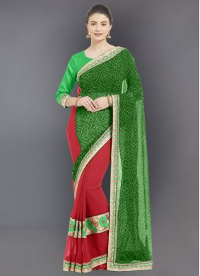 Green Embroidered Casual Saree