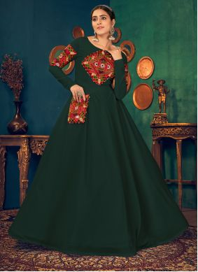 Green Embroidered Ceremonial Floor Length Gown